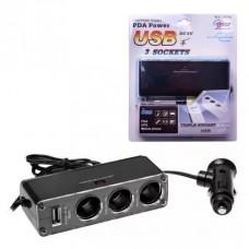 Adaptador Para Encendedor Auto 12v 3 Salidas 12v + Cargador Usb 12v-24v Wf0096